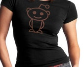 Black Reddit Alien Womens Cut T Shirt American Ringspun Cotton Robot Internet Meme Design Tee