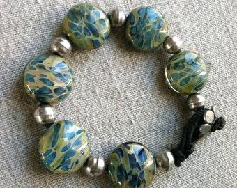 Bracelet- Borosilicate Art Glass and Fine Vintage Silver Bead Bracelet -Boho Bracelet-Boro Bead bracelet