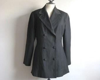 Vintage 80s Designer Jacket Hoax Couture Micro-Dot Black Wool 1980s Blazer Medium