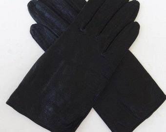 Vintage 60s Gloves Women's Leather Black Wrist Length Van Raalte Size 6