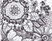 """Original Pen and Ink Drawing - Black and White Floral - """"Wild Symphony"""" HAND DRAWN 8x10"""" Abstract Flower Art Wall Decor"""
