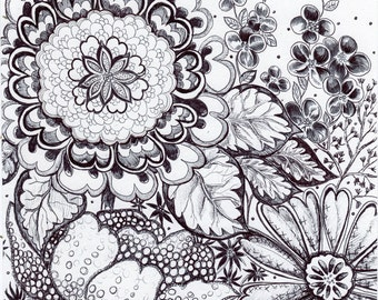 "Original Pen and Ink Drawing - Black and White Floral - ""Wild Symphony"" HAND DRAWN 8x10"" Abstract Flower Art Wall Decor"