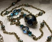 Peacock Blue Green Dichroic Glass Drop Victorian Choker Necklace Antiqued Gold Bronze Filigree Titanic Temptations Vintage Bridal Jewelry