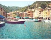 Portofino photo - Mediterranean harbor town, Italian Riviera photography, boats, decor, romance - 9x12 Original Fine Art Photograph