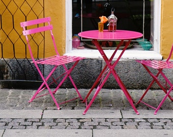 Cafe Print - Copenhagen Photography - Hot Pink and Orange Decor - Denmark Travel Photo Bistro Table Chairs Photograph - Kitchen Art