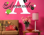 Personalized Polka Dot  name decal monogram - Vinyl Wall Decal Sticker Art