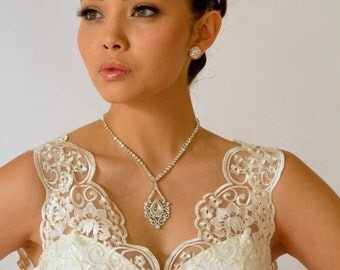 Rhinestone Bridal Necklace Swarovski Wedding Necklace Bridal Jewelry Wedding Jewelry Bridal Drop Flower - PN23