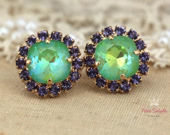 Green Mint Studs,Purple Green Earrings,Swarovski Stud Earrings,Gift for Her,Green Apple Swarovski Earrings,Bridal Earrings,Bridesmaids Gifts