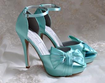 "Custom Color Wedding Shoes, Bridal Shoes, Women's Wedding Shoes, 4"" Heel Bridal Shoes - Peep Toe Heels-Wedding ,Pink2Blue Wedding Shoes"