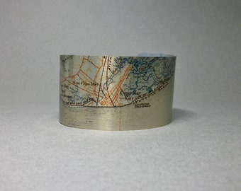 Cape May New Jersey Vintage Map Cuff Bracelet Cool Gift for Men or Women