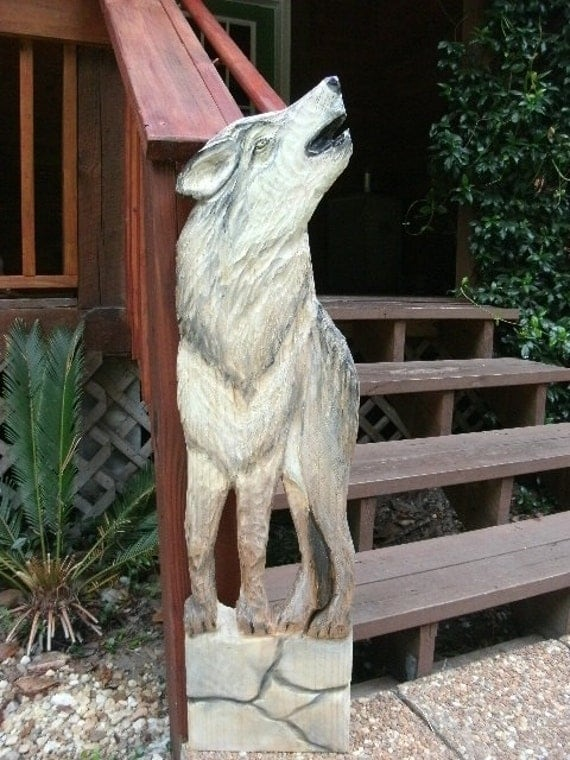 Timber wolf ft tall chainsaw wildlife canine wall by