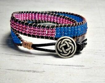 Double Wrap Bracelet, Eggplant and Blue Wrap Around, Womens Bracelet, Beaded Bracelet, Leather Wrap Bracelet