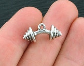 BULK 25 Barbell Charms Antique Silver Tone 3D - SC3906