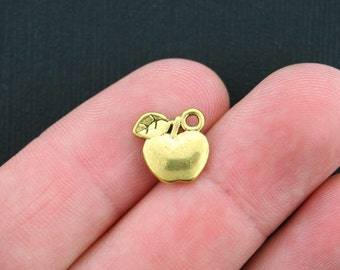 12 Apple Charms Antique Gold Tone 2 Sided - GC304