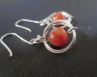Wire Wrapped Dangle Earrings, Carnelian and Argentium