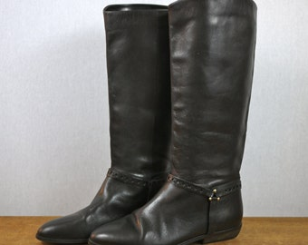 Black Etienne Aigner Tall Leather Riding Boots