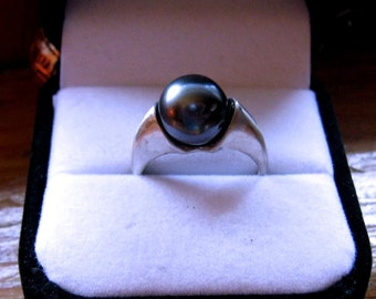 Bad Moon Rising Huge Black Tahitian Pearl Ring 10mm /Cultured South Sea Sterling Silver handmade size 4 5 6 7 8 9 10 11 12 13 fine jewelry