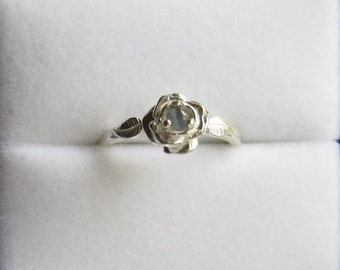 Sweet Rose Ring Sterling Silver Color Change Blue to Green Alexandrite Sapphire White Topaz size 3 4 5 6 7 8 9 10 11 Handmade Fine Jewelry