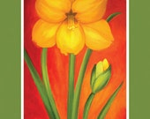 Yellow Amaryllis blank notecard featuring painting by Kathleen Rietz