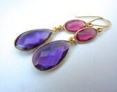 Pink Quartz and Purple Amethyst Gold Fill Bezel Dangle Earrings.