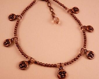 Ankle Bracelet Moon Anklet Crystal Anklet Copper Ankle Bracelet Beaded Anklet Beaded Jewelry Moon Jewelry Moon Face CopperJewelry