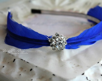 Royal Blue Feather Headband - Crystal Bridal Headband - Feather Fascinator - Bridesmaids - Many Colors