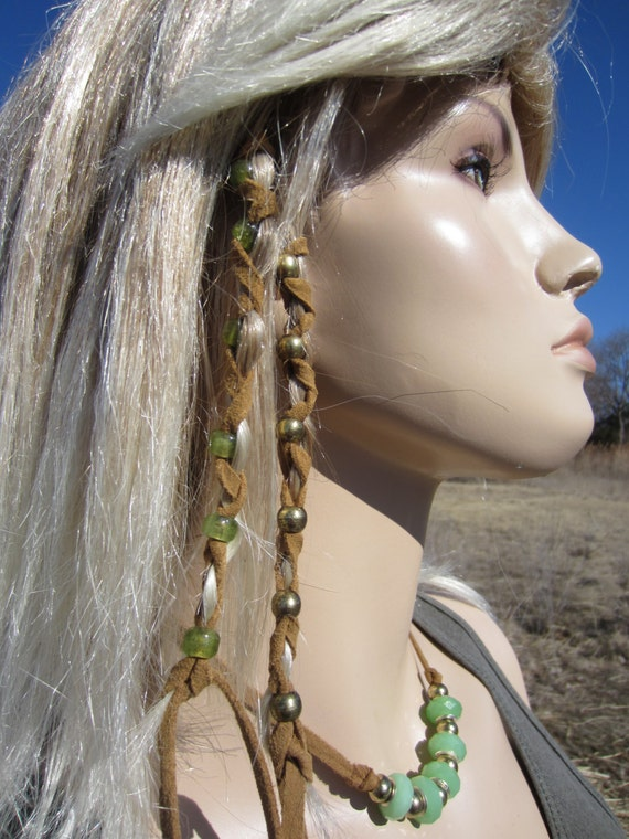 Leather Hair Wraps Hair Tie Braid Ponytail Holders Bead Hair