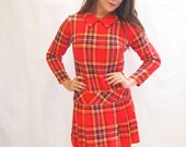 Vintage 1960's French red and green tartan long sleeved mini dress
