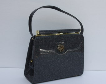 Vintage Grey Gray Patent Leather Purse Handbag 60s