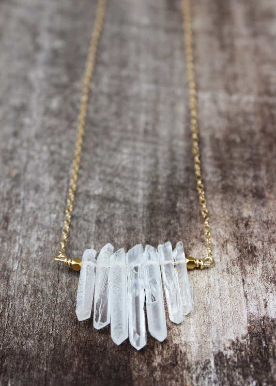 Crystal Quartz Bar Necklace - Gold filled chain with crystal quartz needles, gold bar necklace, quartz necklace, raw quartz, gemstone bar