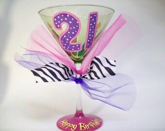 21st Birthday Martini Glass