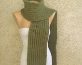 Chunky Knit Men Women Scarf / Army green Long Thick Scarf / Double Face Wool Unisex Scarf / Rib Pattern Winter Accessories / Gift For Him