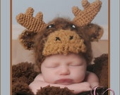 Baby Moose Hat, Crochet Moose Hat, Newborn Moose Hat, Fuzzy Moose Hat, Newborn Photo Prop