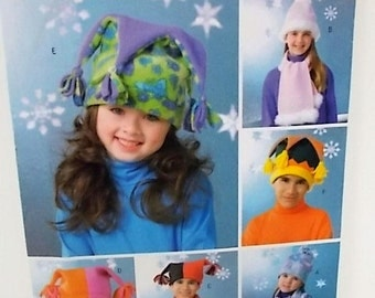 Fleece Accessories Pattern, Butterick B4306, Hats Mittens Scarves, Boys and Girls Winter wear, Size S M L, Un Cut Pattern
