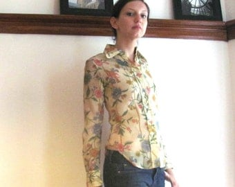 Spring Garden Blouse / Flower and Bird Print Blouse / Sheer Print Blouse