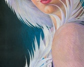 "1920s flapper girl in a purple and teal hat with a white plume feather pen - Art Reproduction (Print) - ""Nom de Plume"" - gift for writer"