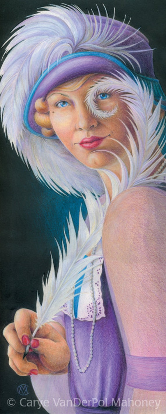 """1920s flapper girl in a purple and teal hat with a white plume feather pen - Art Reproduction (Print) - """"Nom de Plume"""" - gift for writer"""