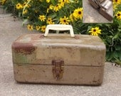Union Fishing Tackle Box, Gray Metal Tool Box, Shabby Chic Industrial Supply or Tool Case with Accordion Tray