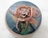 Mottled Blue Rose Double Layer Trinket Pot