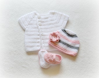 Crochet Baby Beanie, Sweater and Mary Janes 3 Piece Set - White, Soft Pink and Heather Grey - MADE TO ORDER