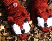 Red Fox Convertible Mittens ~Made to Order~ Hand Knit Rust Foxy Mitts Gloves