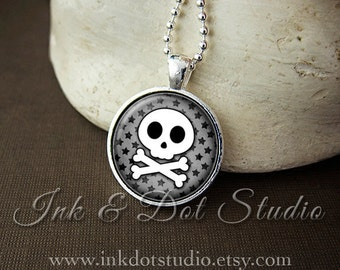 Cute Skull Necklace, Grey Skull Crossbone Pendant, Gray Skull and Stars Necklace, Goth Gothic Emo, Halloween Necklace - Choose Your Color!