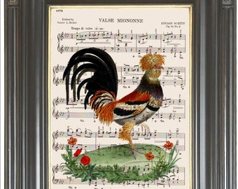 Folk art rooster Orange Poppy printed as dictionary art print wall decor on old antique dictionary or music book page Digital art No 608
