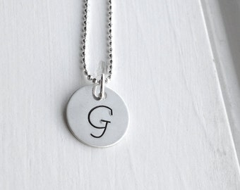 Sterling Silver Letter G Necklace, Letter G Jewelry, Initial Necklace, Initial Jewelry, Charm Necklace, Monogram Necklace, Initial Pendant
