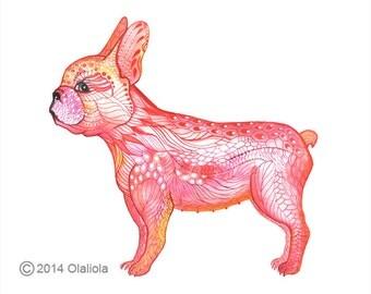 Golden French bulldog, animal art print, Golden Frenchie dog, size 10x8
