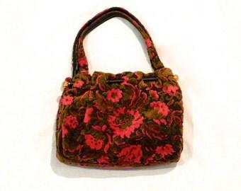 Floral Tapestry Bag Vintage Pink and Green Brocade Gypsy Bag Flower Boho Carpet Purse Hippie Tote Bag Top Handle Carpet Bag