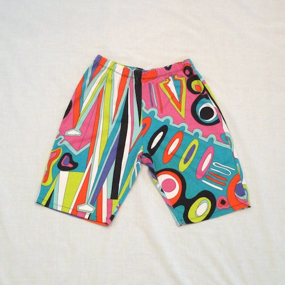 Reserved Psychedelic Print Shorts Op Art Print Cotton shorts Heavy T shirt knee length shorts Pucci Look Fabric Vintage 80s 90s FREE US SHIP