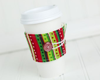 Coffee Sleeve Cozy Red Green Stripe Print Unisex Reusable Cup Cover Great for Ugly Christmas Sweater Party
