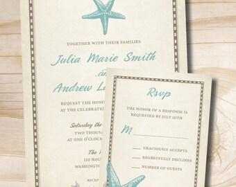 RUSTIC STARFISH Wedding Invitation and Response Card Invitation Suite