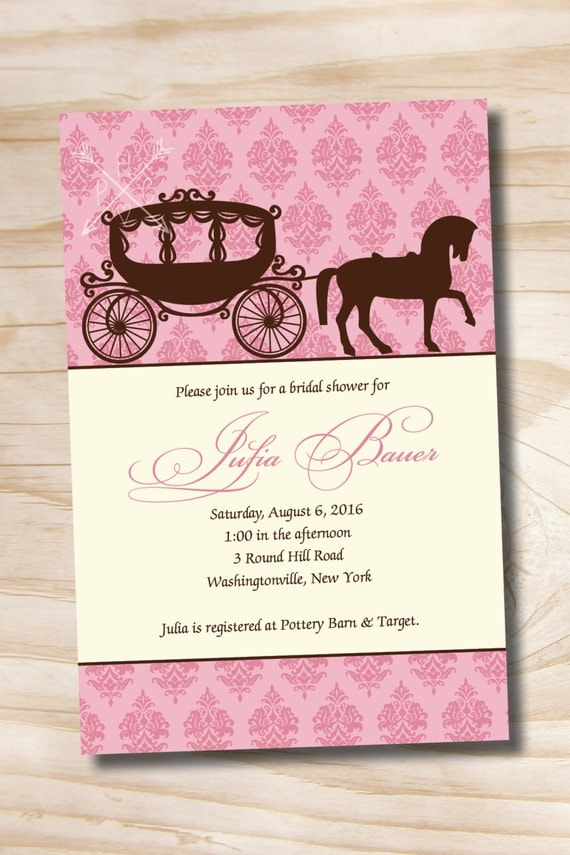 HORSE & CARRIAGE DAMASK Cinderella Bridal Shower Party Invitation ...